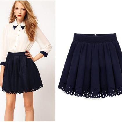 Hollow out Lace Pleated Skirt