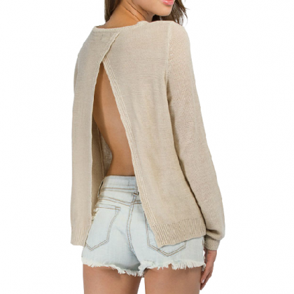 ROUND NECK LONG-SLEEVED BACKLESS SWEATER CS1104CF