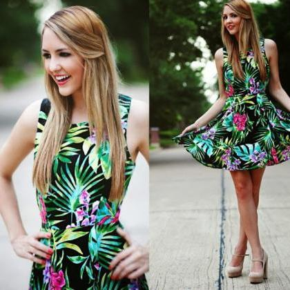 LEAVES PRINTING FASHION SLEEVELESS DRESS FF5FE