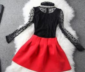 Nail bead coat + red skirt two-piece outfit ADAHBG