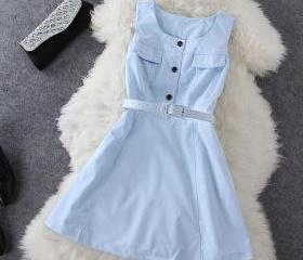 Fashion sleeveless blue dress WQ724EG