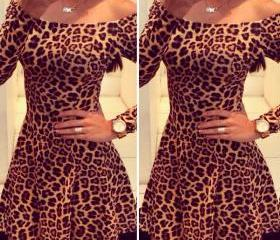 sexy leopard Long-sleeved dress BN1112E