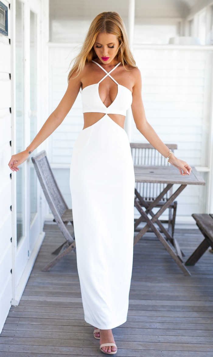 SEXY WHITE BACKLESS DRESS RVX24ZH