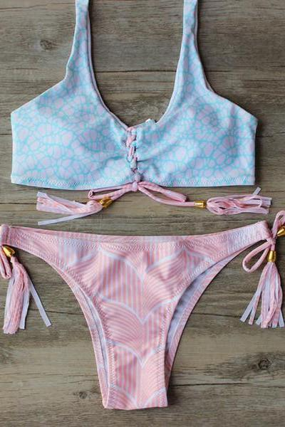 Sexy Fashion Pink Bandage Print Strap Beach Bikini Set Swimsuit Swimwear 37028IF