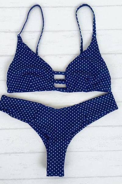 Fashion Sexy Polka Dots Strap Beach Bikini Set Swimsuit Swimwear 63903IF