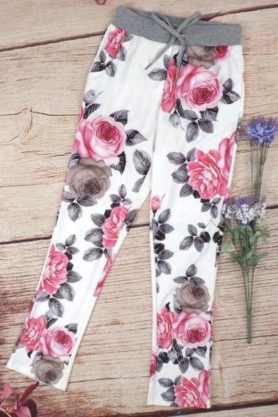 Strappy Retro Flower Print Casual Pants Trousers 36628IF