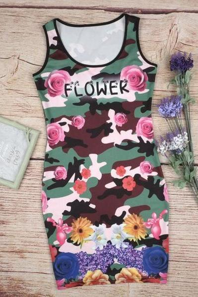 Daisy Print Sleeveless Package Hip Dress 36623IF