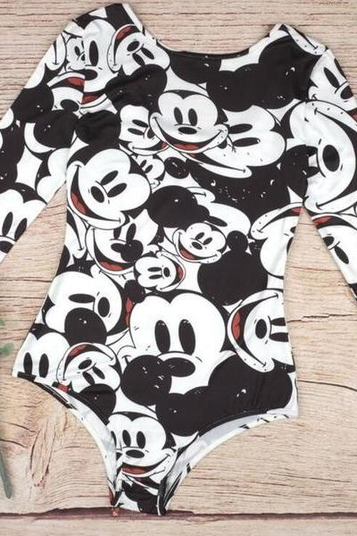 Mickey Mouse Print One Piece Swimsuit Swimwear 36620IF