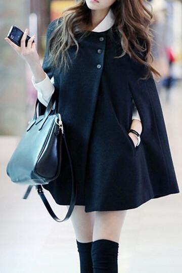FASHION BLACK CLOAK COAT LK1211DB