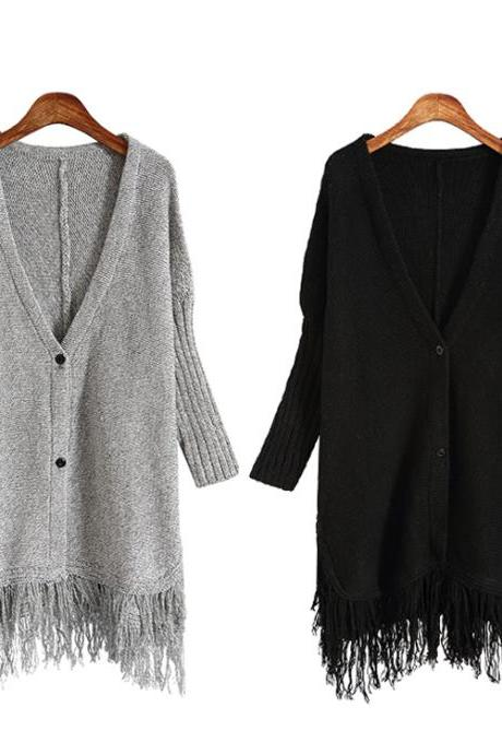 V-neck long-sleeved knit fringed jacket 7056189