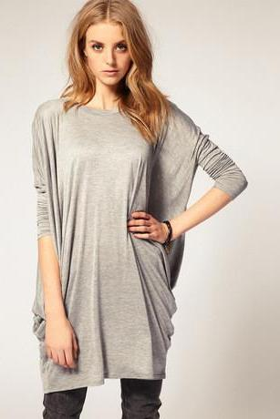 LONG-SLEEVED BAT SLEEVE LOOSE T-SHIRT KN1226J