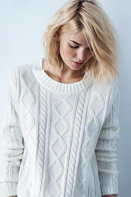Fashion long-sleeved knit sweater 1084608