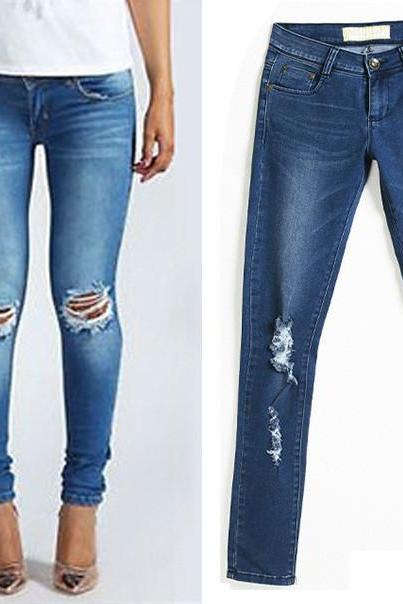 FASHION HOLE LOOSE JEANS T15011003