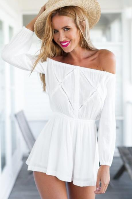 SEXY LONG SLEEVE WHITE JUMPSUITS RBV28KM