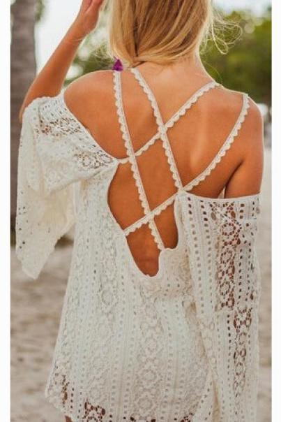SEXY WHITE BACKLESS DRESS AKT49DK