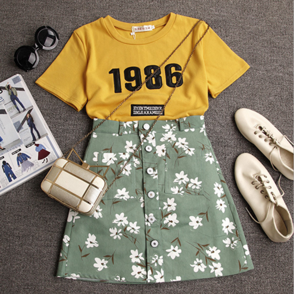 Letter Print Short Sleeve Fashion Two-Piece Suit 36746IF
