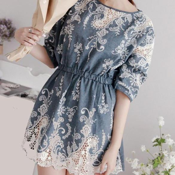 HOLLOW OUT PRINTING LACE DRESS GV823BH