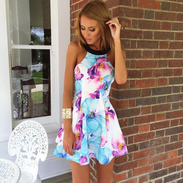 FASHION STRAPLESS PRINTING DRESS KNW85AX