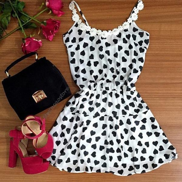 FASHION WHITE LACE STRAPS PRINTING DRESS RBK62AC