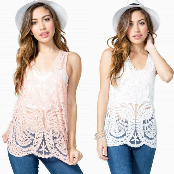 EMBROIDERY LACE SLEEVELESS VEST ETB58AM