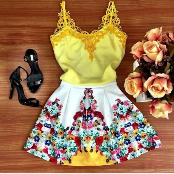 FASHION LACE VEST PRINTING DRESS EYP17AM